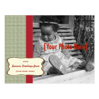 Holiday Houndstooth Photo Card Post Card