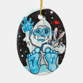 Holiday Hugs Yeti~ornament Ceramic Ornament