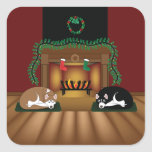 Holiday Huskies by the Fireplace Sickers Square Sticker