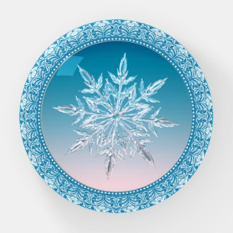 Holiday Ice Snowflake Blue & White Paperweight