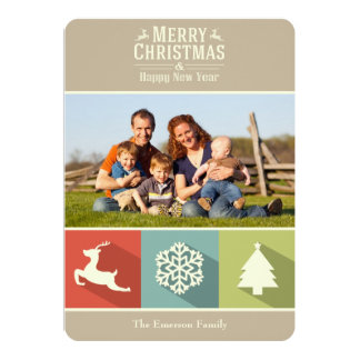 Holiday Icons (Beige) Customized Announcement Cards
