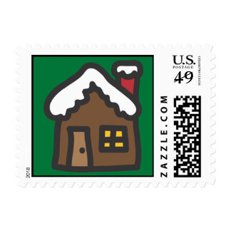Holiday Icons Cartoon Gingerbread House Postage
