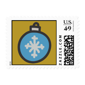 Holiday Icons Cartoon Glass Ornament Postage