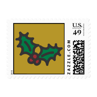 Holiday Icons Cartoon Holly & Berries Postage