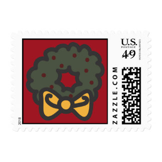 Holiday Icons Cartoon Wreath Postage