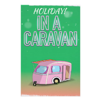 Holiday in a Caravan cartoon poster Stationery