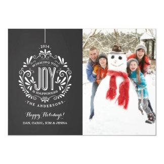 HOLIDAY JOY CHALKBOARD ORNAMENT PHOTO CARD CUSTOM INVITATIONS