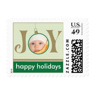 Holiday Joy Custom Holiday Postage (green)