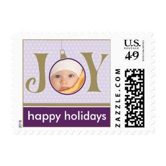 Holiday Joy Custom Holiday Postage (purple)