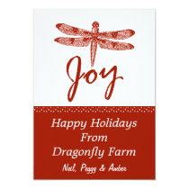 Holiday Joy Dragonfly Card