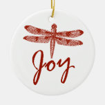 Holiday Joy Dragonfly Double-Sided Ceramic Round Christmas Ornament