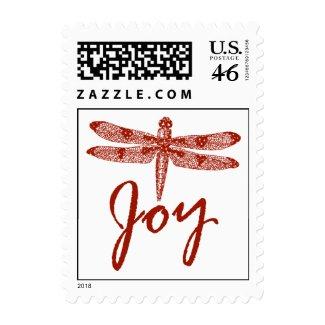 Holiday Joy Dragonfly Postage Stamp
