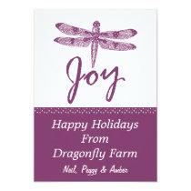 Holiday Joy Dragonfly Purple Flat Card
