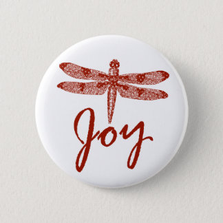 Holiday Joy Dragonfly Round Pinback Button