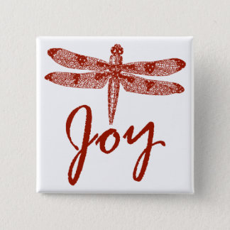 Holiday Joy Dragonfly Square Pinback Button