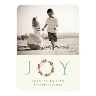 Holiday Joy Floral Wreath Modern Photo Greeting 4.5x6.25 Paper Invitation Card