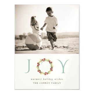 Holiday Joy Floral Wreath Modern Photo Greeting Magnetic Card