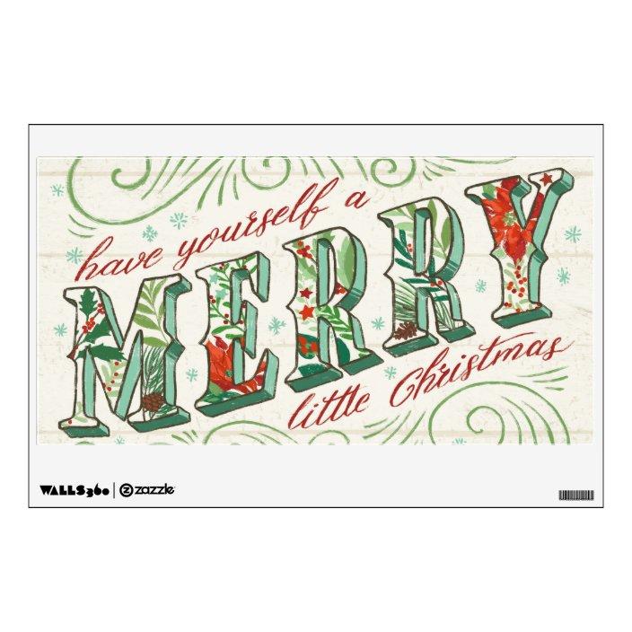 Holiday Joy Merry Little Christmas Wall Decal Zazzle Com