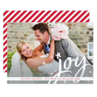HOLIDAY JOY modern overlay photo script lettering Card