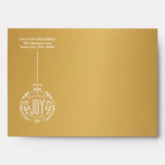 HOLIDAY JOY ORNAMENT CHALK ART GOLD ENVELOPE