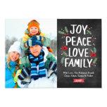 Holiday Joy Peace Love Family 1 Photo Card