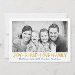 "Holiday Joy Peace Love Family Gold Shimmer 1 Photo<br><div class=""desc"">PLEASE NOTE: the back of this card is completely customizable and you can either add a photo or choose to not have a photo and write a personal message instead.</div>"