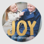 Holiday Joy Photo Holiday Sticker/ Envelope Seal Classic Round Sticker