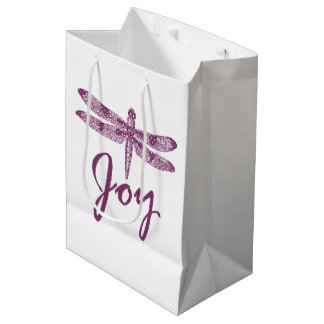 Holiday Joy Purple Dragonfly Medium Gift Bag
