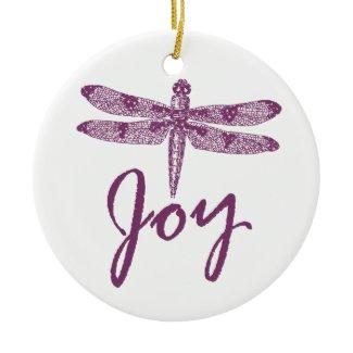 Holiday Joy Purple Dragonfly Ornament