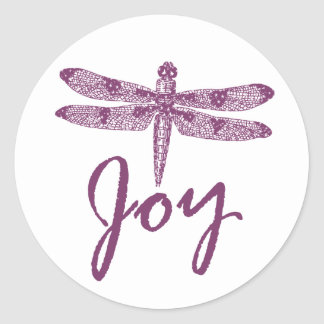 Holiday Joy Purple Dragonfly Stickers