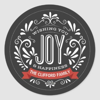 HOLIDAY JOY ROUND CHALKBOARD STICKERS