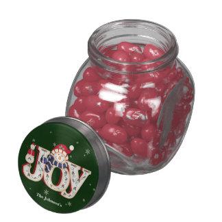 Holiday Joy with Snowmen Glass Jar
