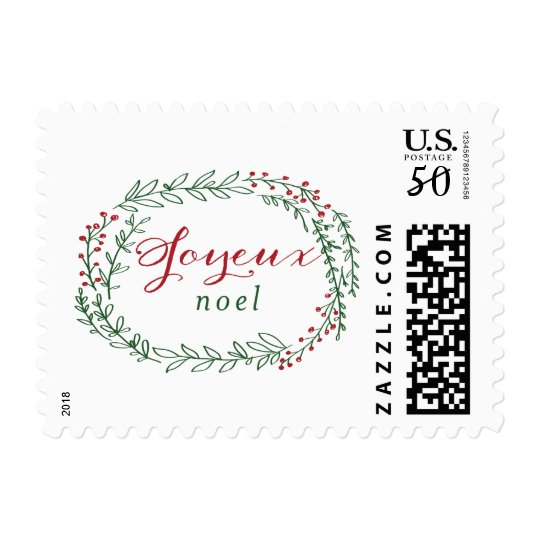 holiday joy / wreath postage stamp