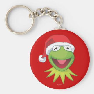Holiday Kermit 2 Basic Round Button Keychain