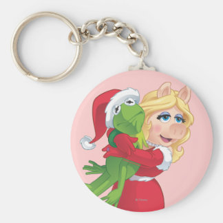 Holiday Kermit and Miss Piggy Basic Round Button Keychain