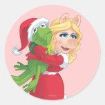 Holiday Kermit and Miss Piggy Round Sticker