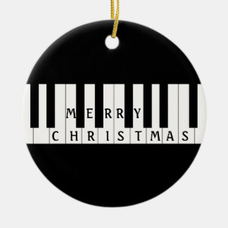 Holiday Keys Piano Double-Sided Ceramic Round Christmas Ornament