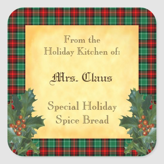Holiday Kitchen of Holly Plaid Baking Sticker