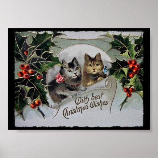 Holiday Kitties Wearing Bows Poster