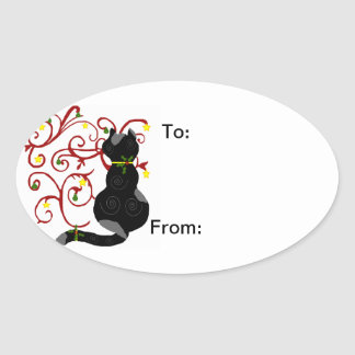 Holiday Kitty cat gift sticker
