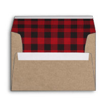 Holiday Kraft Red Plaid Tartan Envelope