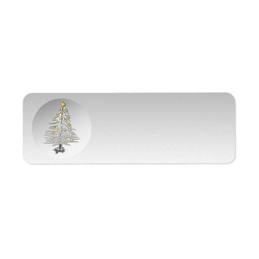 Holiday Label Silver Globe Christmas Tree Return Address Label
