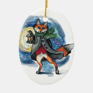Holiday Lantern Fox Chirstmas Decoration! Double-Sided Oval Ceramic Christmas Ornament
