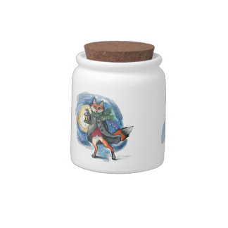 Holiday Lantern Fox cookie jar Candy Dish