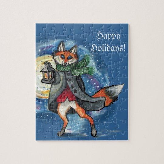 Holiday Lantern Fox Puzzle