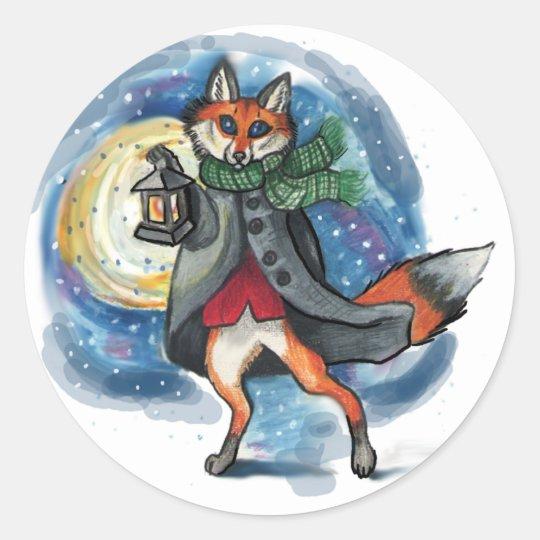 Holiday Lantern Fox~stickers Classic Round Sticker