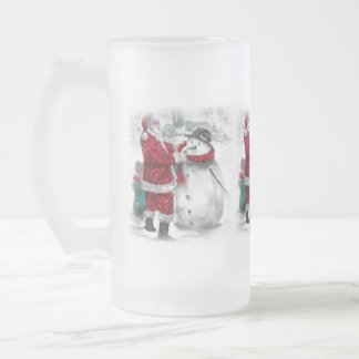 Holiday Latte Frosted Glass Beer Mug