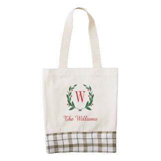 Holiday Laurel Wreath Family Monogram Zazzle HEART Tote Bag