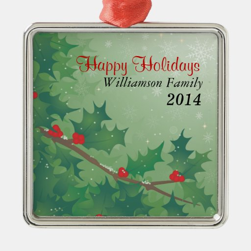 Holiday Leaves Square Metal Christmas Ornament