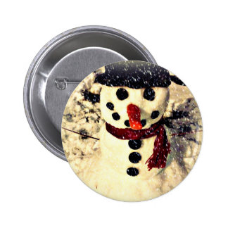 Holiday Let it Snow Adorable Snowman Button